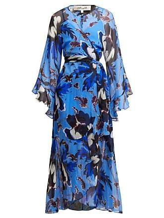 Diane Von Fürstenberg Lizella Floral Print Silk Dress - Womens - Blue Print
