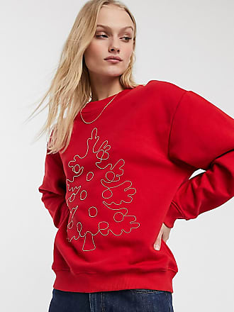 Monki Geborduurde sweater met kerstboom in rood