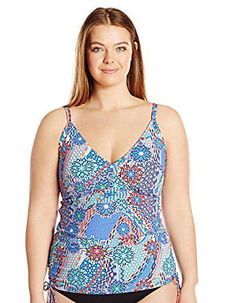 Sunsets Womens Plus-Size Adjustable Shirred Tankini with Removable Cups, Impulse, 16W/D-DD