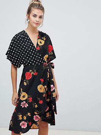 646f23ae404b Influence Vestito a portafoglio con maniche a kimono e stampa mix  u0026  match ...