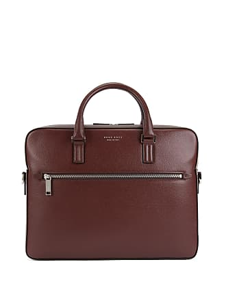 BOSS Hugo Boss Signature Collection document case in printed Italian calf leather One Size Dark Red