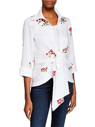 Neiman Marcus Tie-Front Wrap Floral Embroidered Jacket