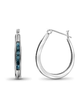 JewelersClub JewelersClub 1/2 Carat T.W. Blue Diamond Sterling Silver Hoop Earrings