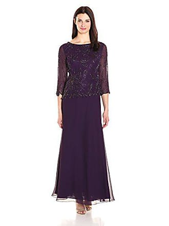 J Kara Womens 3/4 Floral Beaded Pop Over Gown, Plum/Wine/Shaded, 8