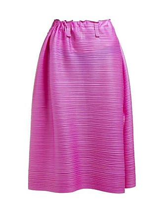 Pleats Please Issey Miyake Buttoned Side Tech Pleated Midi Skirt - Womens - Pink