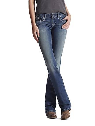 e02e4fef48e97 Ariat Womens R.E.A.L. Mid Rise Stretch Entwined Boot Cut Jeans in Marine  Cotton, Size 28