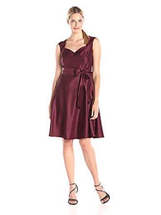 Kasper Womens Sleeveless Dress with Tie, Bordeaux, 14
