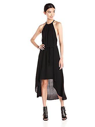 La Made Womens Crepe Celine Hi Low Dress, Black, Large