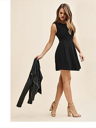 Dynamite Pleated Fit And Flare Dress JET BLACK