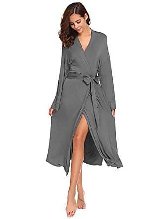2167cdf6c2e9dc Avidlove Damen Morgenmantel lang Baumwolle Kimono Negligee Saunamantel  Winter Robe V Ausschnitt Bademantel Nachthemd,L