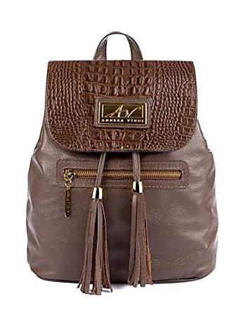 Andrea Vinci Mochila saco feminina em couro legítimo chocolate