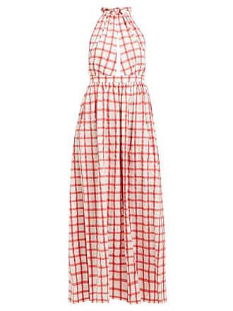 Mara Hoffman Linny Checked Halterneck Cotton Dress - Womens - White