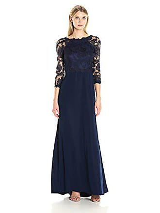 95d1ee113ebf Tadashi Shoji Womens 3/4 Sleeve Embroidered Lace Gown, Royal Navy, 10