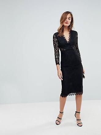 5432e5e6da Asos ASOS Long Sleeve Lace Midi Pencil Dress - Black