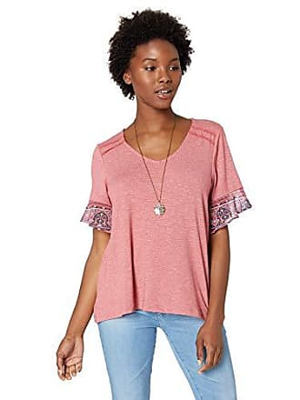 Oneworld Womens Petite Ruffle Chiffon Sleeve Top with Necklace, Moroccan Sunset/Dusty Rose PS