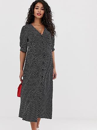 c56901bcbba24 Asos Maternity ASOS DESIGN Maternity button through midi tea dress with  shirred waist in spot print
