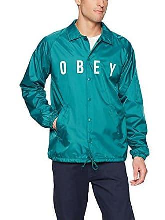 Obey Mens Anyway Nylon Coaches Jacket, Teal, XL