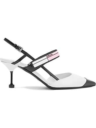 e8fbbaa1d0ab Prada Logo-print Glossed-leather Slingback Pumps - White