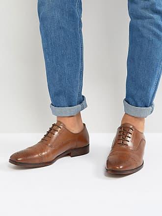 Asos ASOS - Chaussures richelieu en cuir avec bout renforcé - Fauve - Fauve 04270d112b48