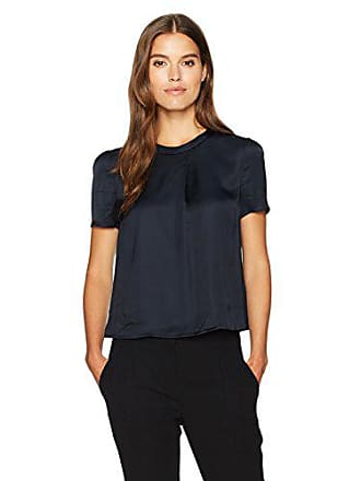 Armani Womens Side Overlay Blouse, Navy, 0
