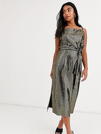 Y.A.S Metallic-färgad, ärmlös omlottklänning med knytning i midjan-Svart