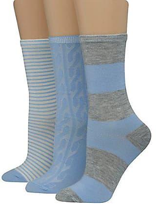 c65b1ca0c3f79 Hanes Womens Assorted Giftable Crew Socks 3-Pack Blue Grey Assortment 5-9