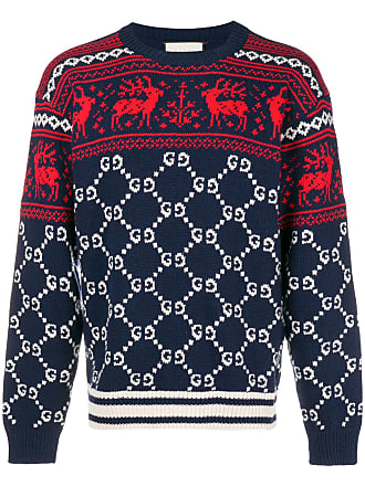 4ba9e5e1638 Gucci GG and reindeer jacquard sweater - Blue
