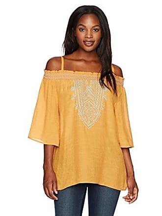 Oneworld Womens Elbow Sleeve Woven Off The Shoulder Top with Embroidery, Whispering Tales/Currywurst L