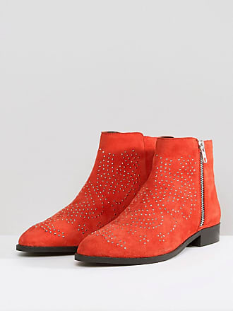 b1d29249848 Asos ASOS AUTO PILOT Wide Fit Suede Studded Ankle Boots - Red