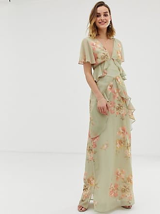 Hope & Ivy ruffle floaty maxi dress with open back in sage green floral - Multi