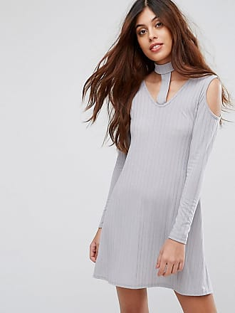 54ee09a4fe1 Be Jealous Ribbed Swing Dress With Tie Neck - Silver
