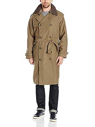 London Fog Mens Iconic Trench Coat, British Khaki, 42 Short