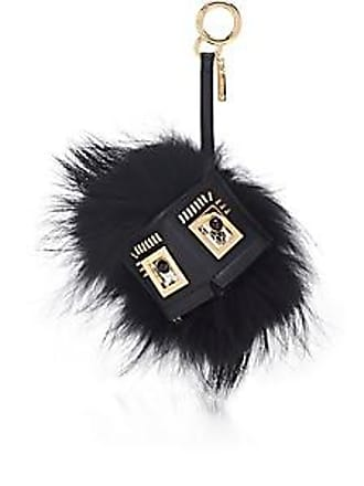 Fendi Womens Leather   Fur Coin Purse Bag Charm - Black+Soft Gold ec1907c98fb02