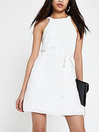 River Island Womens White tie waist swing dress