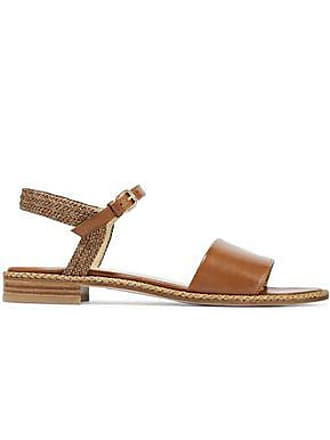 Stuart Weitzman Stuart Weitzman Woman Braided And Smooth Leather Sandals Brown Size 40.5
