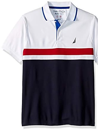 b038efac6ab Nautica Mens Short Sleeve Performance Knit Polo Stripe Series Shirt, Pure  White, Large