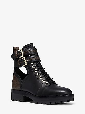 Michael Kors Bensen Logo And Leather Combat Boot
