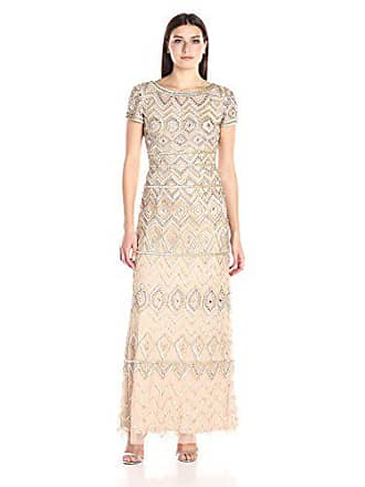 Adrianna Papell Womens Short Sleeve Long Beaded Embellished Gown, Champagne/Gold, 12