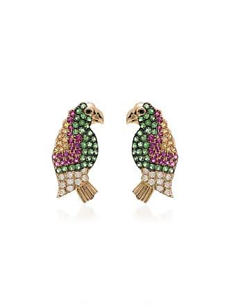 Yvonne Léon multicoloured parrot sapphire and gold earrings - Gold/Multicolour