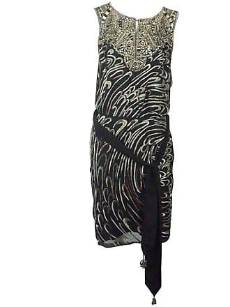 594295dd33412 Escada Black Silk Heavily Silver Beaded Sleeveless Evening Dress - 36