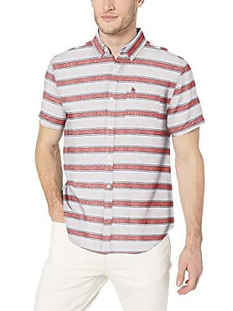 5aeef4aefe Original Penguin Mens Short Sleeve Linen Shirt, Bright White Orange Stripe,  X-Large