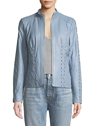 Neiman Marcus Lace-Up Leather Moto Jacket