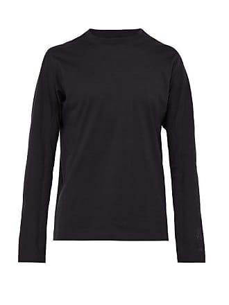 Yohji Yamamoto Logo Print Long Sleeved Cotton T Shirt - Mens - Black