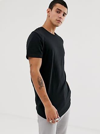 Jack & Jones Originals - Lang geschnittenes T-Shirt mit abgerundetem Saum in Schwarz