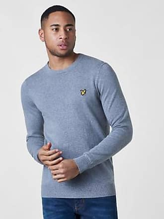 Lyle & Scott Stickad tröja Crew Neck Cotton Merino Jumper Grå