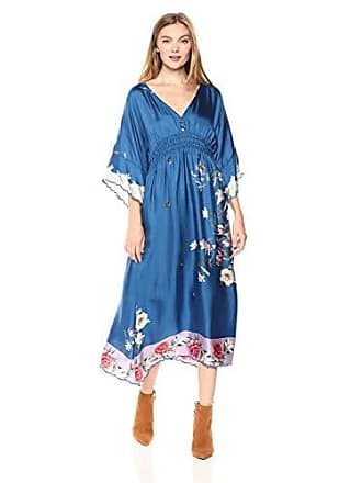 Johnny Was Womens V-Neck Bell Sleeve Pieced Scarf Dress, Multi, XS