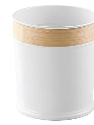InterDesign RealWood Wastebasket Trash Can - White/Light Wood Finish