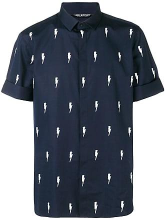 Neil Barrett thunder print shirt - Azul