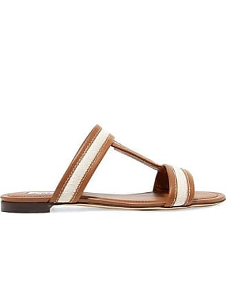 Tod's Canvas And Leather Slides - Tan