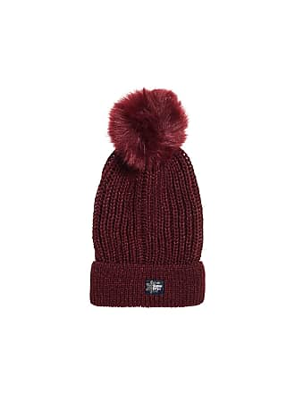 68d2a712d2c Superdry Womens Aries Sparkle Fur Bobble Hat In Burgundy in Size One Size  Burgundy